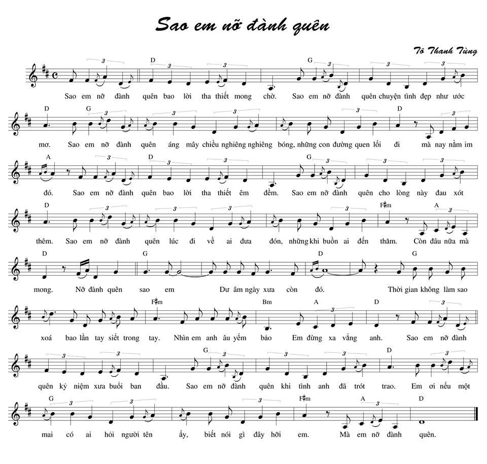 sheet piano sao em nỡ vậy khắc việt