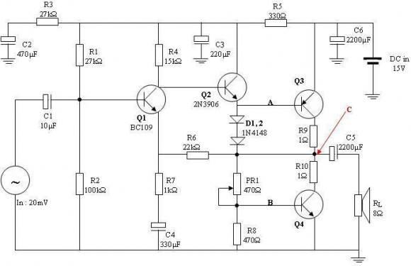 Sơ đồ nguyên lý mạch khuếch đại âm thanh, main công suất mẫu