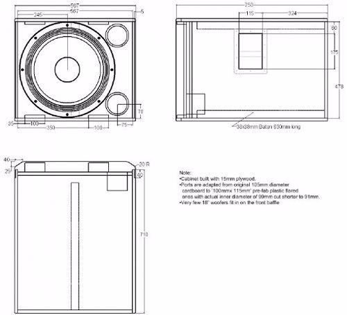Bản thiết kế vỏ thùng loa JBL 718S