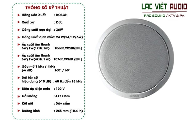 Thông số kỹ thuật loa âm trần Bosch LBC 3099/41
