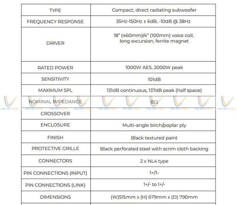 Thông số kỹ thuật của loa sub MIX I-18