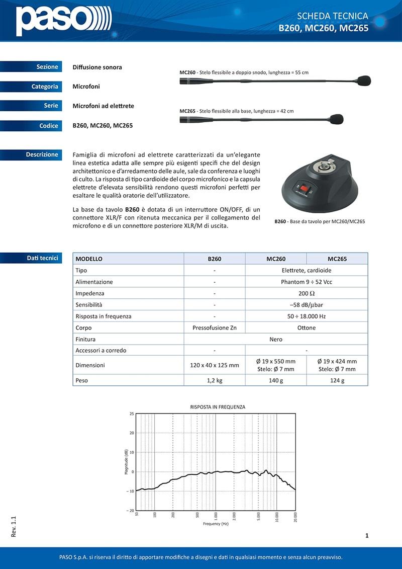 Thông số kỹ thuật của Paso B260 và micro MC260 và MC265