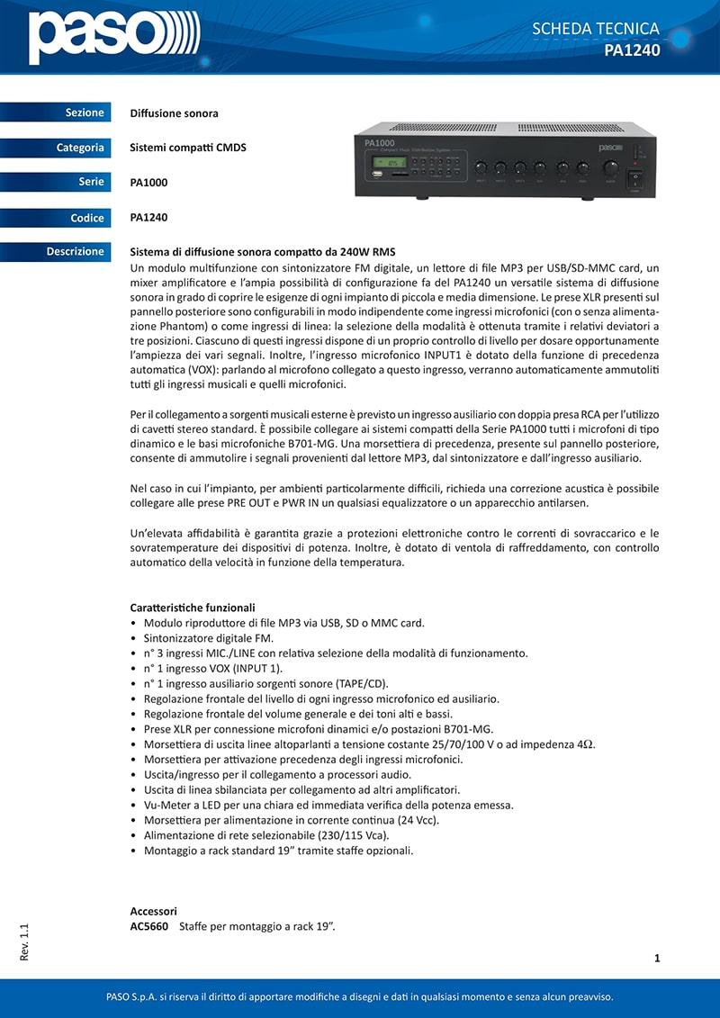 Thông số kỹ thuật và tính năng của Apmly PASO PA1240