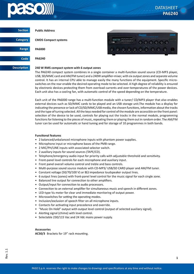 Thông số kỹ thuật và tính năng của Apmly PASO PA6240