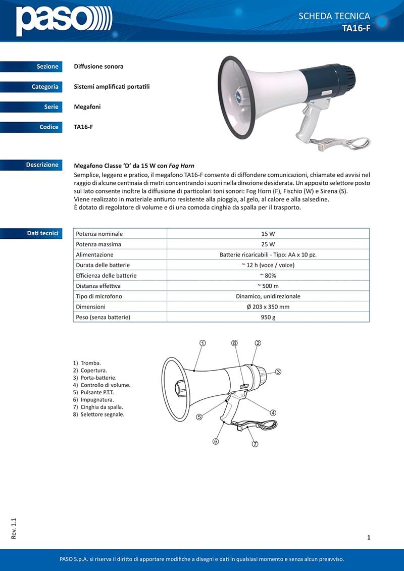 Thông số kỹ thuật và tính năng của loa Paso TA-16F