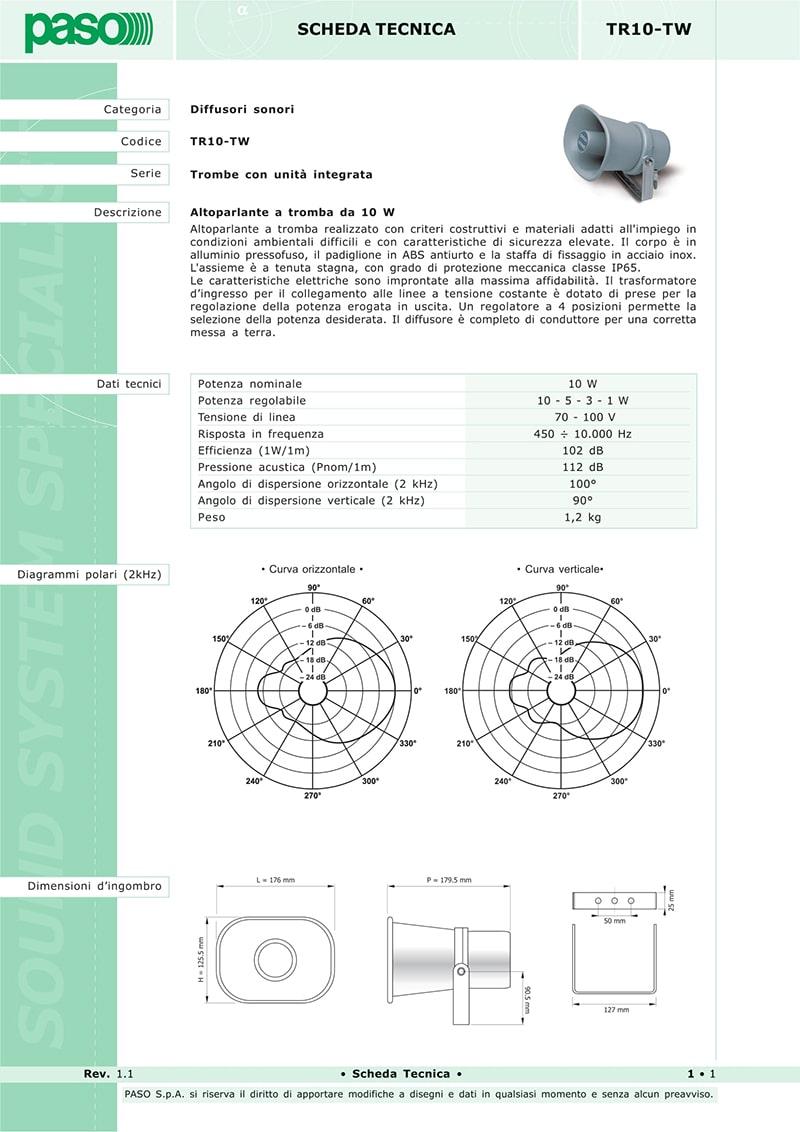 Thông số kỹ thuật về loa Paso TR-10TW