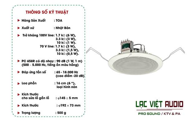 Thông số kỹ thuật của loa âm trần TOA PC-658R