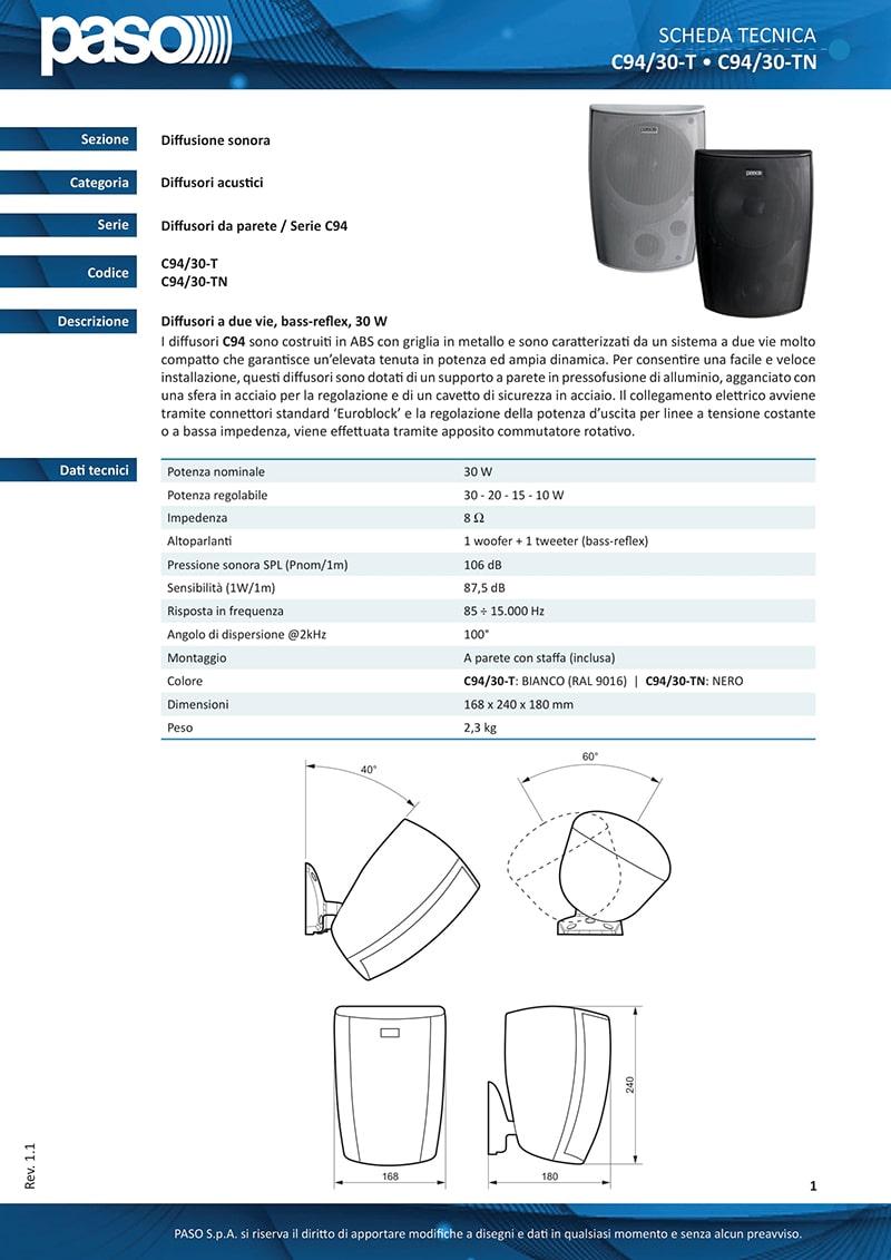 Thông tin và thông số kỹ thuật của Paso C94/30-TN