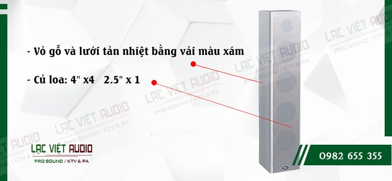 Loa cột ITC T304 được trang bị 4 củ loa bass và 1 củ loa treble với hiệu suất làm việc cao và ổn định