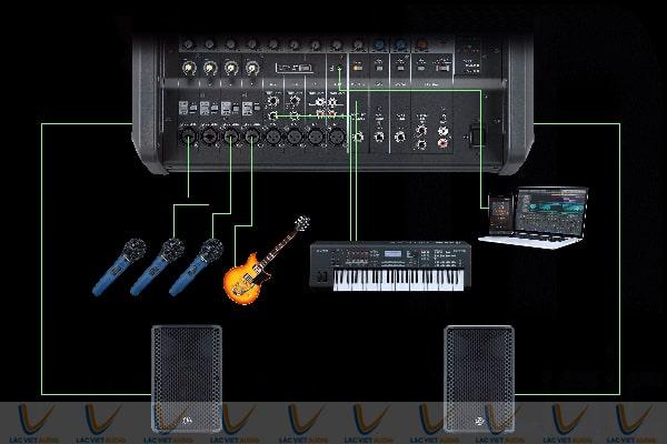 Kết nối với nhiều thiết bị âm thanh, micro,...